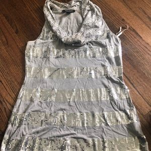 Silver and sequin tank